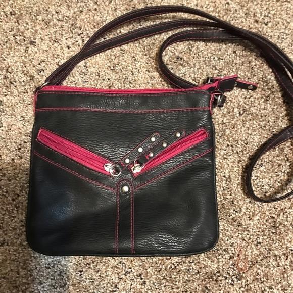 Selena Gomez Handbags - EUC Black & Pink Crossbody w/ Adjustable Strap